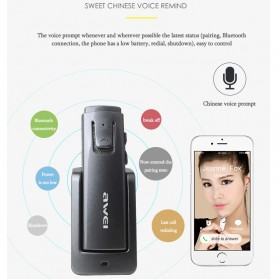 Awei Smart Headset Earphone Bluetooth dengan Car Holder - A833BL - Gray - 4
