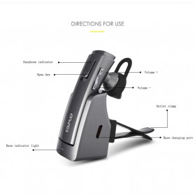 Awei Smart Headset Earphone Bluetooth dengan Car Holder - A833BL - Gray - 6