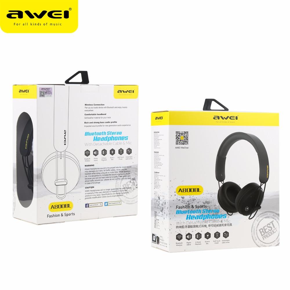 AWEI Bluetooth Wireless Headset Headphone- A800BL - Black - 9 ... d3238a1eb5