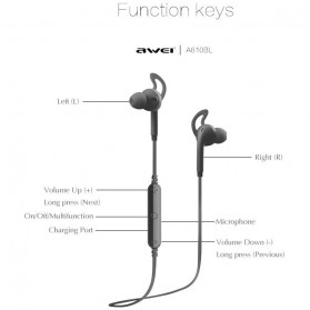 AWEI Bluetooth Earphone Headset - A610BL - Black - 4