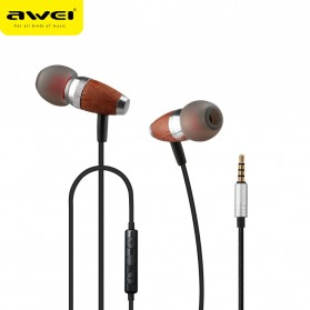 Awei Earphone Wooden Dynamic with Mic - ES-60TY - Blue - 2