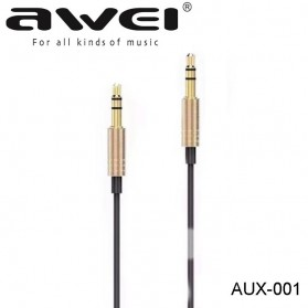 Kabel Audio & Adapter - AWEI Kabel AUX 3.5mm 1 meter - AUX-001 - Golden