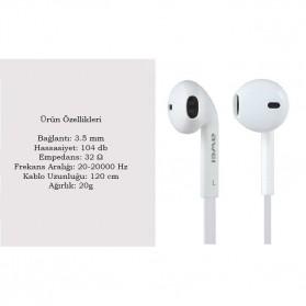 Awei Earphone Earbud dengan Microphone Control - ES-15hi - White - 2