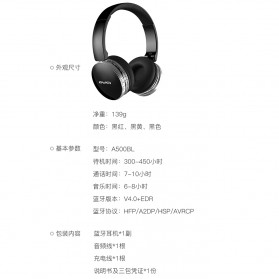 AWEI Bluetooth Wireless Headphone Foldable - A500BL - Black - 7