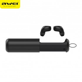 AWEI Dual TWS Airpods Earphone Bluetooth dengan Charging Case - T5 - Black - 2