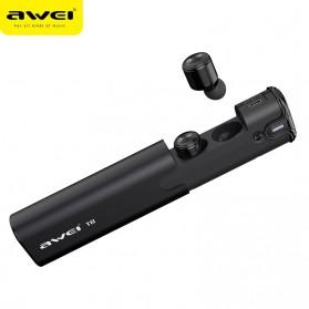 AWEI Dual TWS Airpods Earphone Bluetooth dengan Charging Case - T8 - Black - 2