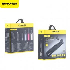 AWEI Dual TWS Airpods Earphone Bluetooth dengan Charging Case - T8 - Black - 6