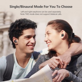AWEI Dual TWS Airpods Earphone Bluetooth dengan Charging Case - T8 - Black - 9