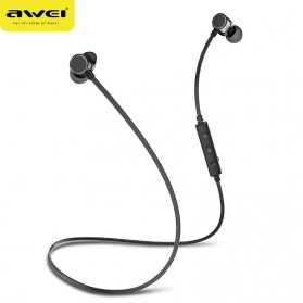 Awei Earphone Bluetooth Sport Neckband with Mic - WT10 - Black