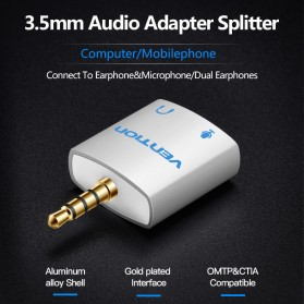Vention Splitter Audio AUX 3.5mm 2 Port Earphone & Microphone - BDBW0 - White - 2