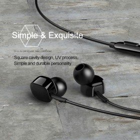 USAMS Square Earphone with Mic- EP-21 - Black - 3