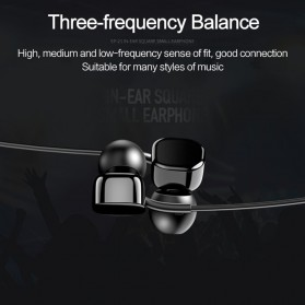 USAMS Square Earphone with Mic- EP-21 - Black - 4