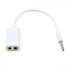 Microphone Headphone Audio Splitter 3.5mm ke 2 x 3.5mm - White