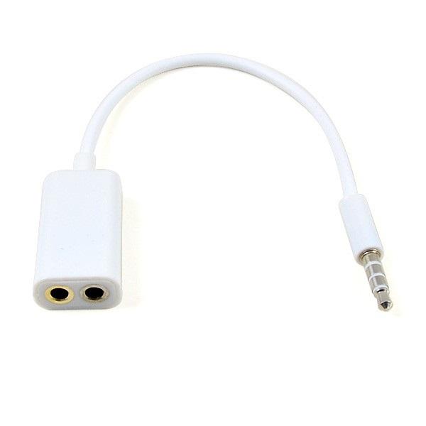 ... Microphone Headphone Audio Splitter 3.5mm ke 2 x 3.5mm - FA29735 - White ...