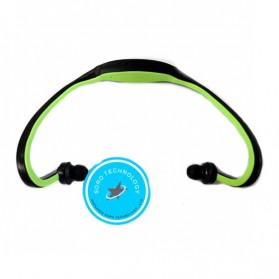 Headset Olahraga dengan FM Radio & Slot MicroSD (OEM) - Black/Green