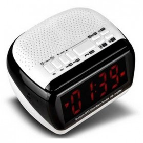 Taffware Bluetooth Speaker Radio Clock with TF Card Slot - KD-67 - Black