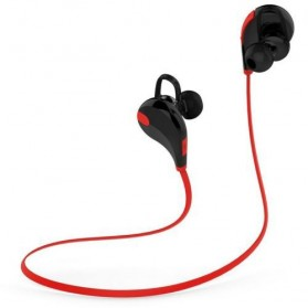 Earphone Bluetooth Sport dengan Mic - QY7 (OEM) - Red