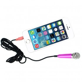 Mini Smartphone 3.5mm Microphone with Mic Stand - Pink - 6