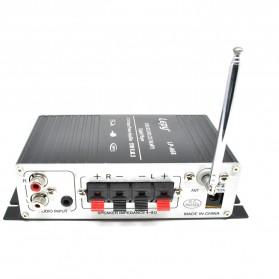 Lepy Mini Car Hi-Fi Stereo Audio Amplifier Bass Booster MP3 12V with USB Port FM MMC - LP-A68 - Black - 2