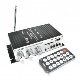 Lepy Mini Car Hi-Fi Stereo Audio Amplifier Bass Booster MP3 12V with USB Port FM MMC - LP-A68 - Black - 3