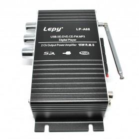 Lepy Mini Car Hi-Fi Stereo Audio Amplifier Bass Booster MP3 12V with USB Port FM MMC - LP-A68 - Black - 5