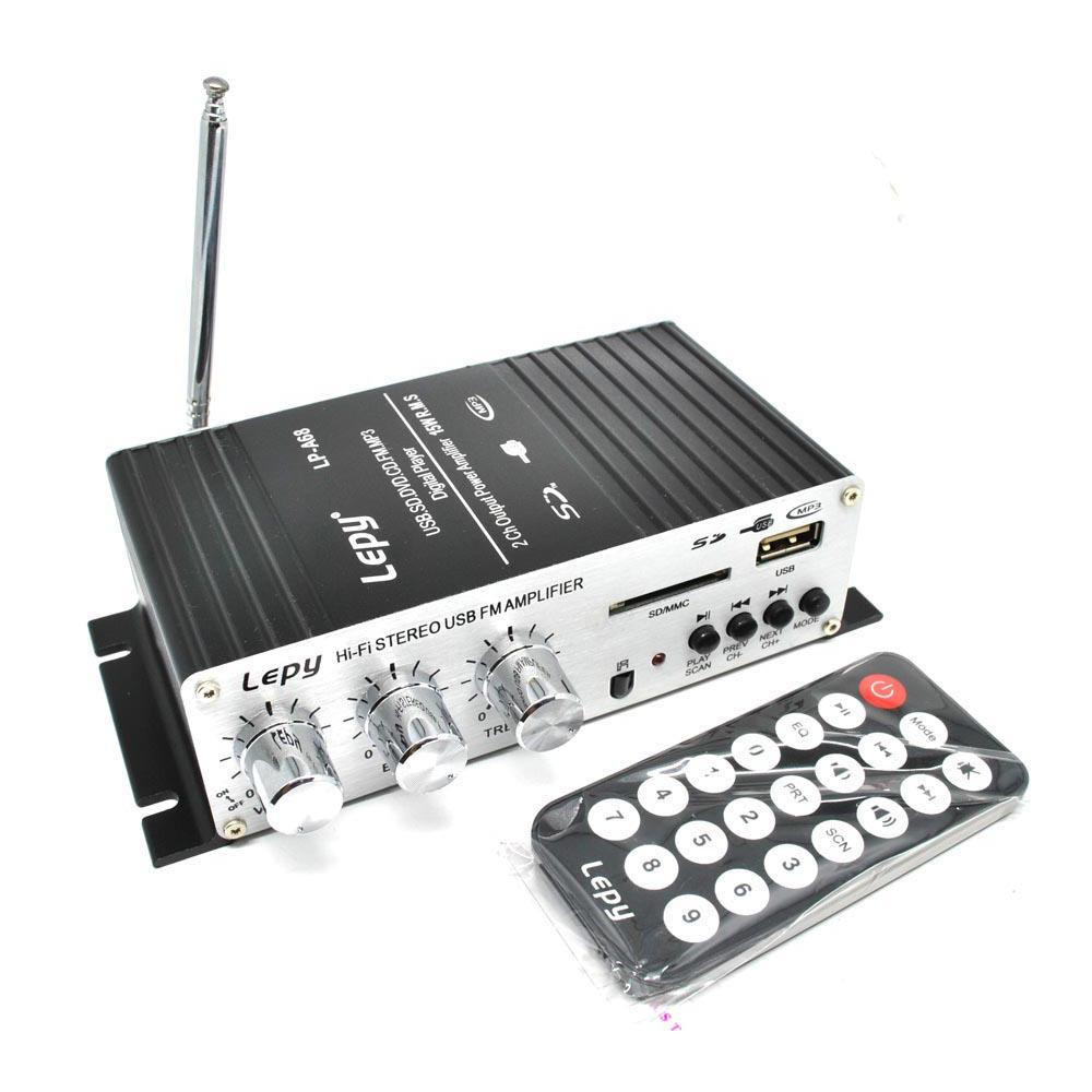 Lepy Mini Car Hi Fi Stereo Audio Amplifier Bass Booster Mp3 12v With Merakit Dot Com Transmitters Usb Port