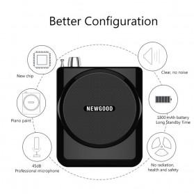 Newgood Megaphone Mikrofon Penguat Suara with USB TF Card FM Radio - N-202 - Black - 3