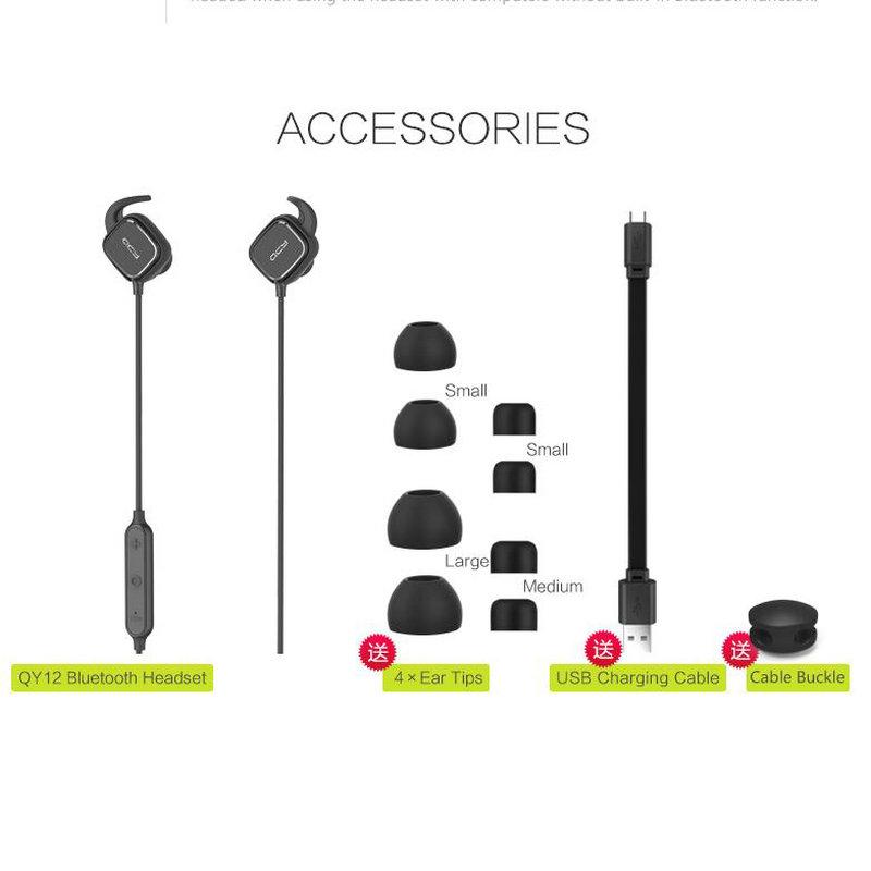 ... QCY QY12 Earphone Bluetooth Olahraga Magnet Detach dengan Mic - Black -  4 ... 1f814e6dd5