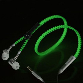 Earphone Zipper Glow in The Dark with Microphone - Green