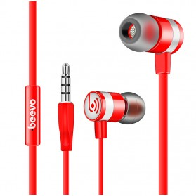 Beevo Earphones Clear Bass Sports with Microphone - EM330 / EM130 - Red