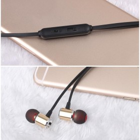 YPZ Earphone Bass Kabel Flat dengan Mic - K6 - Black - 5
