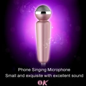 Mini K Song Mikrofon 3.5mm dengan Earphone - Golden - 3
