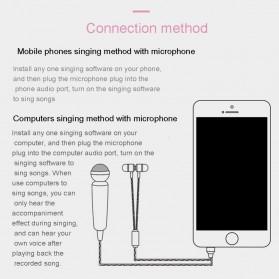 Mini K Song Mikrofon 3.5mm dengan Earphone - Golden - 4