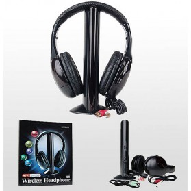 XBS Headphone 5 in 1 Wireless Radio FM Receiver - MH2001 - Black - 4