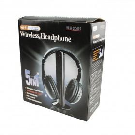 XBS Headphone 5 in 1 Wireless Radio FM Receiver - MH2001 - Black - 5
