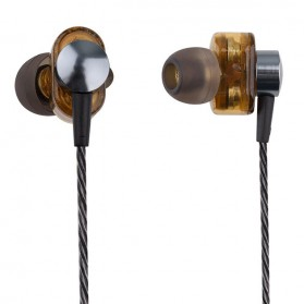 Dual Dynamic Driver Earphone dengan Mic - EP012 - Brown