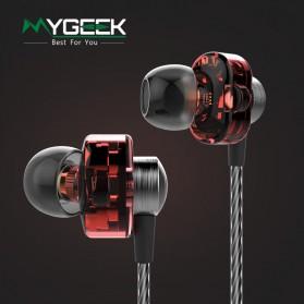 Dual Dynamic Driver Earphone dengan Mic - EP012 - Brown - 2