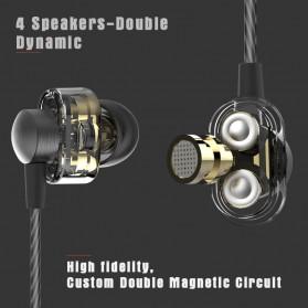 Dual Dynamic Driver Earphone dengan Mic - EP012 - Brown - 3