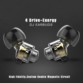 Dual Dynamic Driver Earphone dengan Mic - EP012 - Brown - 5