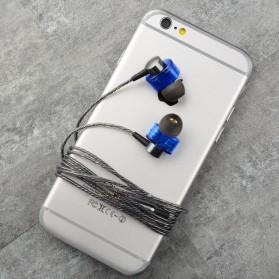 Dual Dynamic Driver Earphone dengan Mic - EP012 - Brown - 7