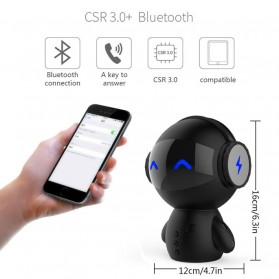 2 in 1 Speaker Bluetooth Portable + Power Bank Model Robot - M10 - Black - 3