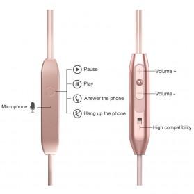 Metal Earphone Stereo Magnetic dengan Microphone - T07 - Pink - 2