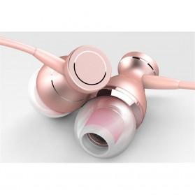 Metal Earphone Stereo Magnetic dengan Microphone - T07 - Pink - 4
