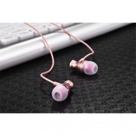 Metal Earphone Stereo Magnetic dengan Microphone - T07 - Pink - 7