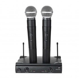 WEISRE PGX58 VHF/UHF Wireless Microphone Dual Handheld Receiver - Black