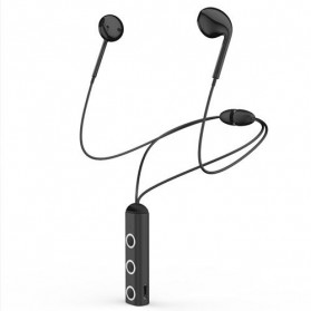 Earphone Bluetooth V4.1 + EDR Sports dengan Neckband Magnetic - Black