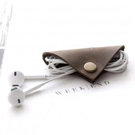 Earphone Cable Clip Elegan Bahan Kulit Genuine - A7023 - Brown