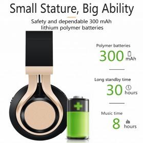 Picun BT08 Bluetooth Headphone with FM Radio - Black Gold - 3