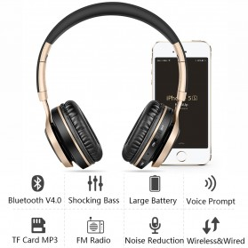 Picun BT08 Bluetooth Headphone with FM Radio - Black Gold - 4