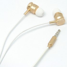 Earphone - Junerose Earphone with Microphone and Volume Control - T55 - White/Gold